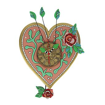 Allen Designs Love Blooms Pink Heart Pendulum Wall Clock