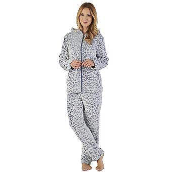 Slenderella PJ2317 Women's Animal Pattern Leopard Print Pajama Pyjama Set