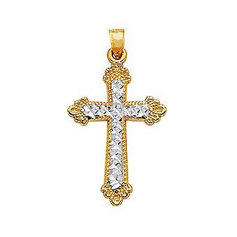 14 k 2 тон золото алмаз вырезать и закончить Milgrain крест кулон