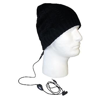 Boss Tech Stereo Tech Cable Knit Hat with Built-In Stereo Headset (Black)
