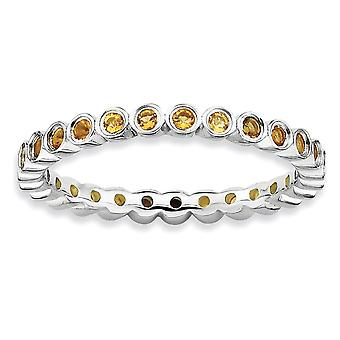 Sterling Silver Bezel Polished Patterned Rhodium-plated Stackable Expressions Citrine Ring - Ring Size: 5 to 10