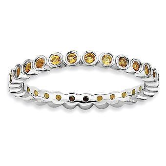 Sterling Silber Lünette poliert gemusterten rhodinierten stapelbar Ausdrücke Citrin Ring - Ring-Größe: 5 bis 10