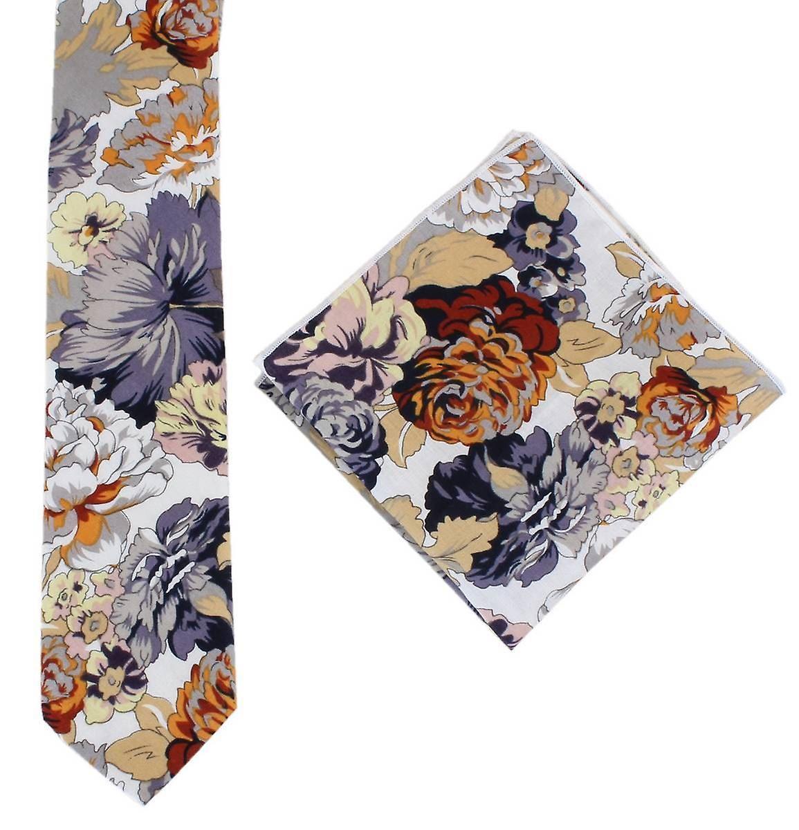 Knightsbridge cravates Bright Floral Cotton cravate and Pocket Square Set - jaune gris Orange