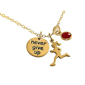 Gemshine Kette Runner - Never Give Up 925 Silber, vergoldet, rose Jogging Rubin
