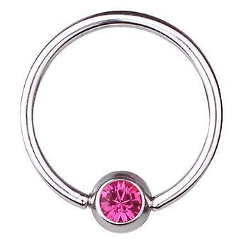 BCR tytanu, Piercing, piłka zamknięcie pierścienia 1,2 mm, SWAROVSKI ELEMENTS różowy   6-12