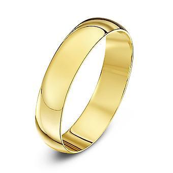 Stjärniga bröllop ringar 9ct gult guld ljus D form 4mm vigselring