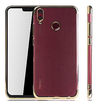 Handyhülle für Huawei Honor 8X Gold - Clear - TPU Silikon Case Backcover Schutzhülle in Transparent / glänzender Rand Gold