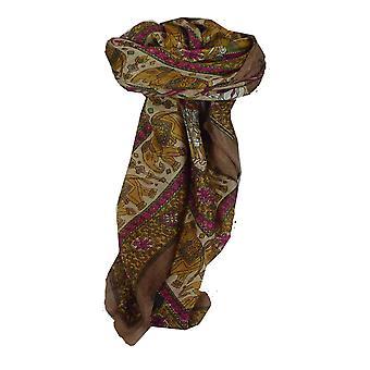 Шелковица шелка традиционными квадратный шарф Farrin кофе & Cerise, пашмины & шелка