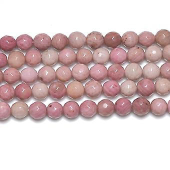 Strand 62+ Pink Rhodonite 6mm Faceted Round Beads GS2776-1