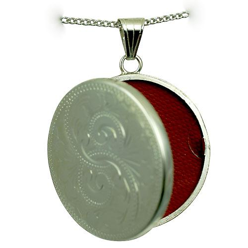 Silver 29mm hand engraved flat round Locket with a curb Chain 20 inches