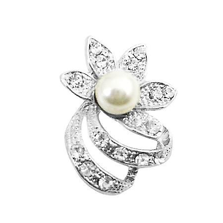 Very Artistic Flower CZ Round Bouquet Pearls Dainty Cheap Brooch Pin