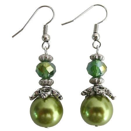 Green Pearl Peridot Crystal Bridesmaid Earrings Wedding Jewelry