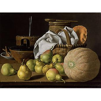 Still Life with Melon and Pears,Luis Egidio Melendez,50x37cm
