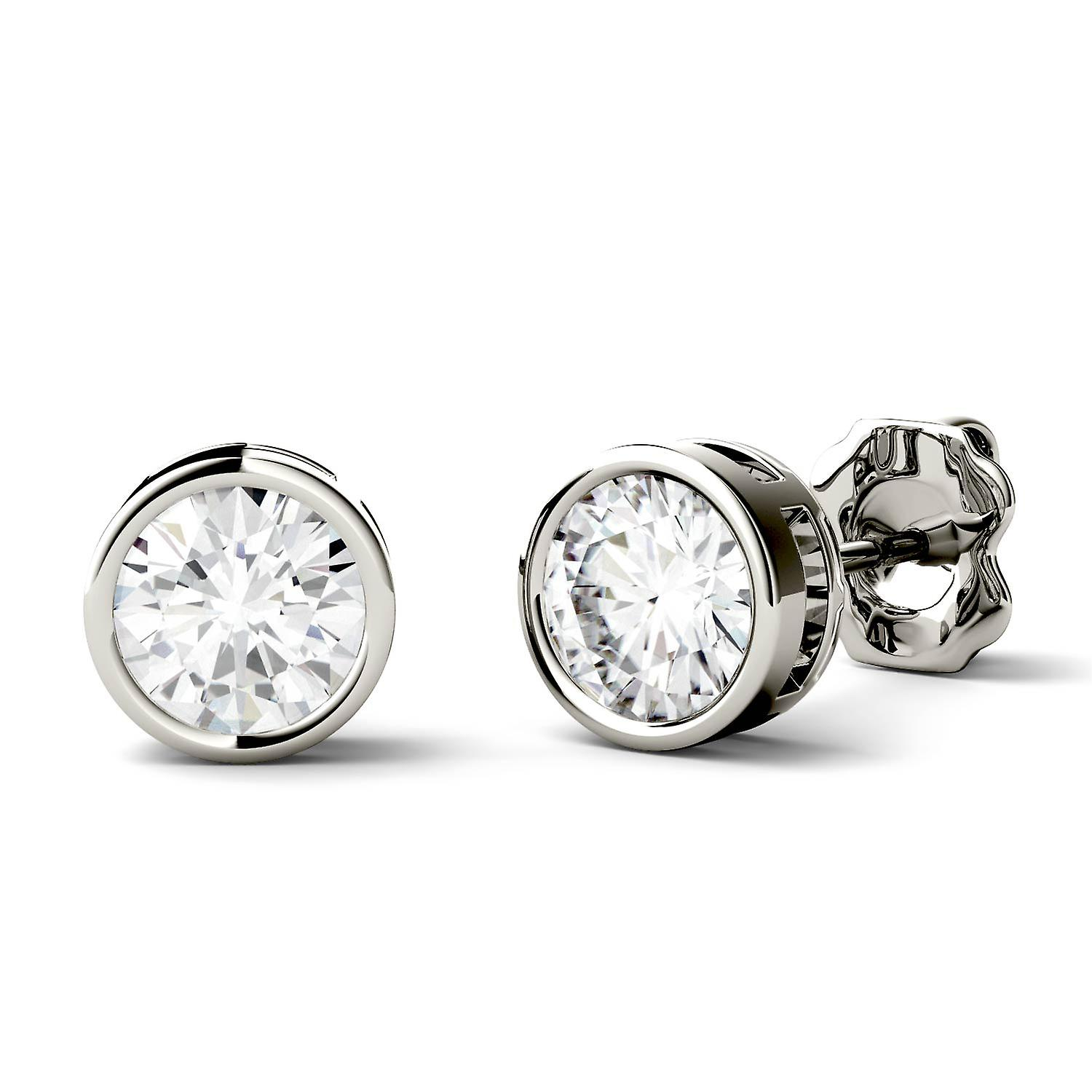 14K blanc or Moissanite by Charles & Colvard 5mm Round Stud boucles d'oreilles, 1.00cttw DEW