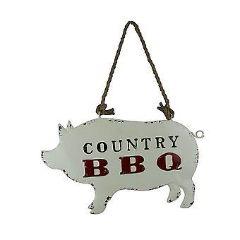 Verwitterte Weißmetall Land BBQ Schwein geformt, hängende Zeichen