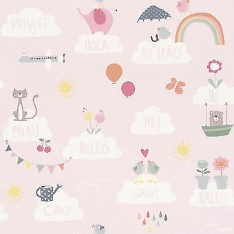 Meisjes roze behang wolken regenbogen vogels katten vlinders Children's kwekerij