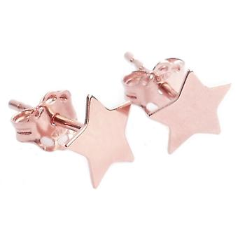 Ah! Jewellery 18K Rose Gold Vermeil Over Sterling Silver 6mm Star Studs