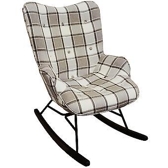 Kontrollera - Wing tillbaka gunga / omvårdnad stol med incheckat Tartan tyg - grå / vit / svart