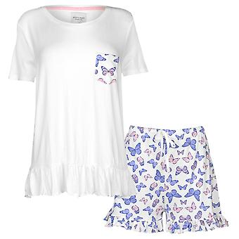 Rock and Rags Womens Ladies Butterfly Shorts Pyjama Set Short Sleeve Crew Neck