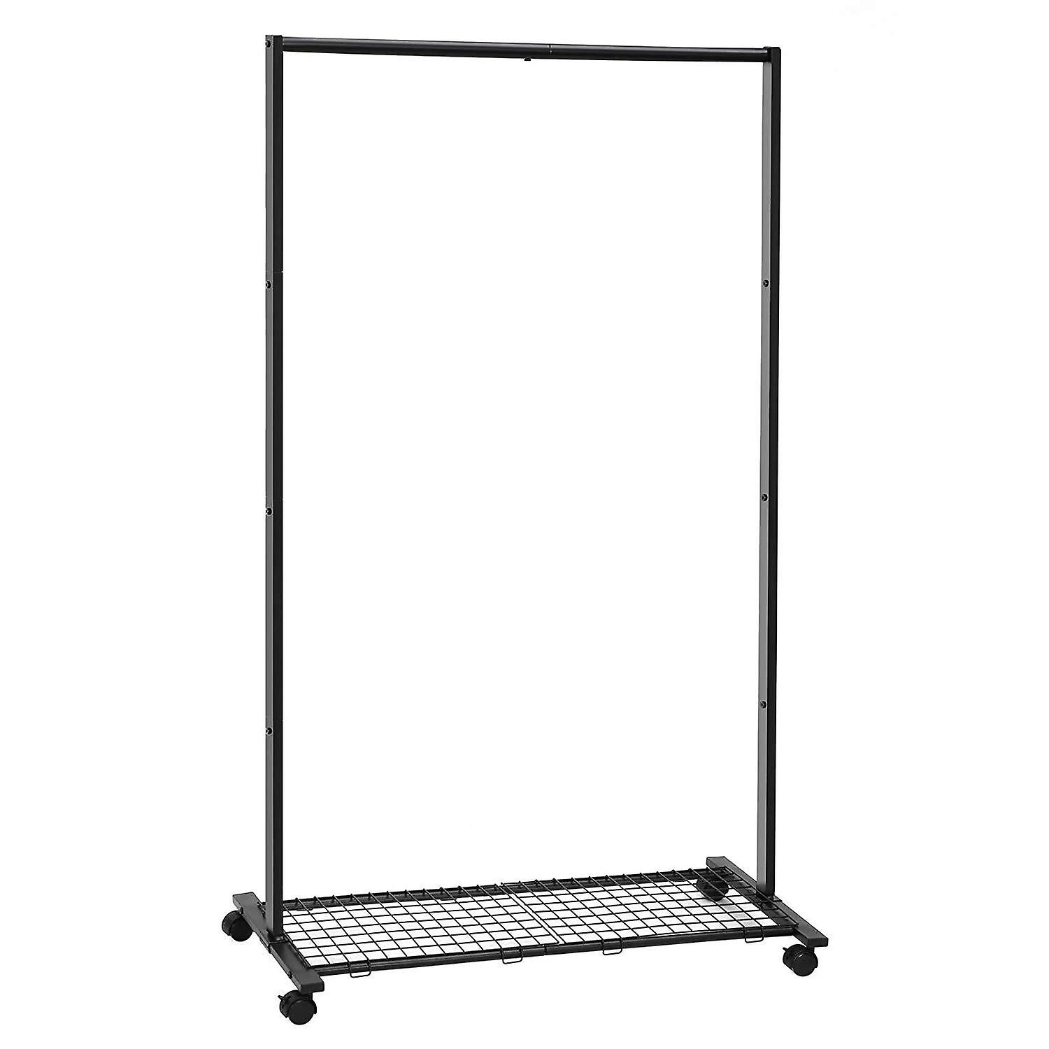 Black metal clothes rack with wheels and carrying grille