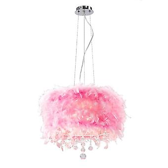 Diyas Ibis Pendant With Pink Feather Shade 3 Light Polished Chrome/Crystal