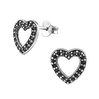 Heart - 925 Sterling Silver Cubic Zirconia Ear Studs - W30795X