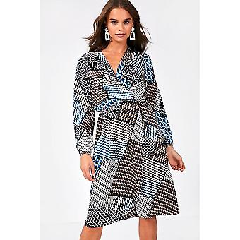 iClothing Oscar Long Sleeve Wrap Front Dress -16