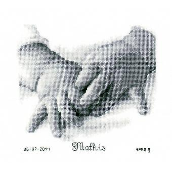 Baby Hands Birth Record On Aida Counted Cross Stitch Kit-8