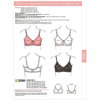 Bra  32 With Cup Sizes Aa, A, B, C, D   34 Pattern K3594