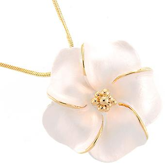 Gold Plated Matt Ivory Daisy Flower Pendant Necklace Chain