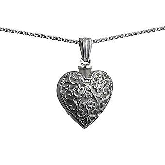 Silver 25x22mm handmade Embossed Heart shaped Memorial Locket with a curb Chain 24 inches