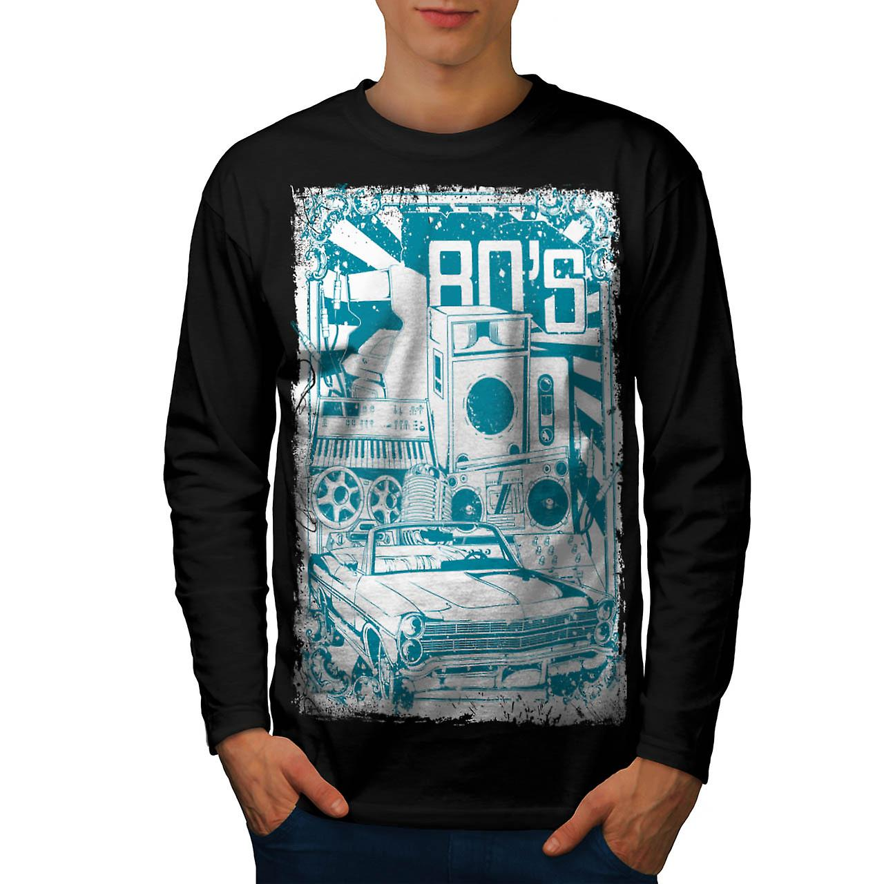 DJ 80's Theme Night Music Car Men Black Long Sleeve T-shirt | Wellcoda