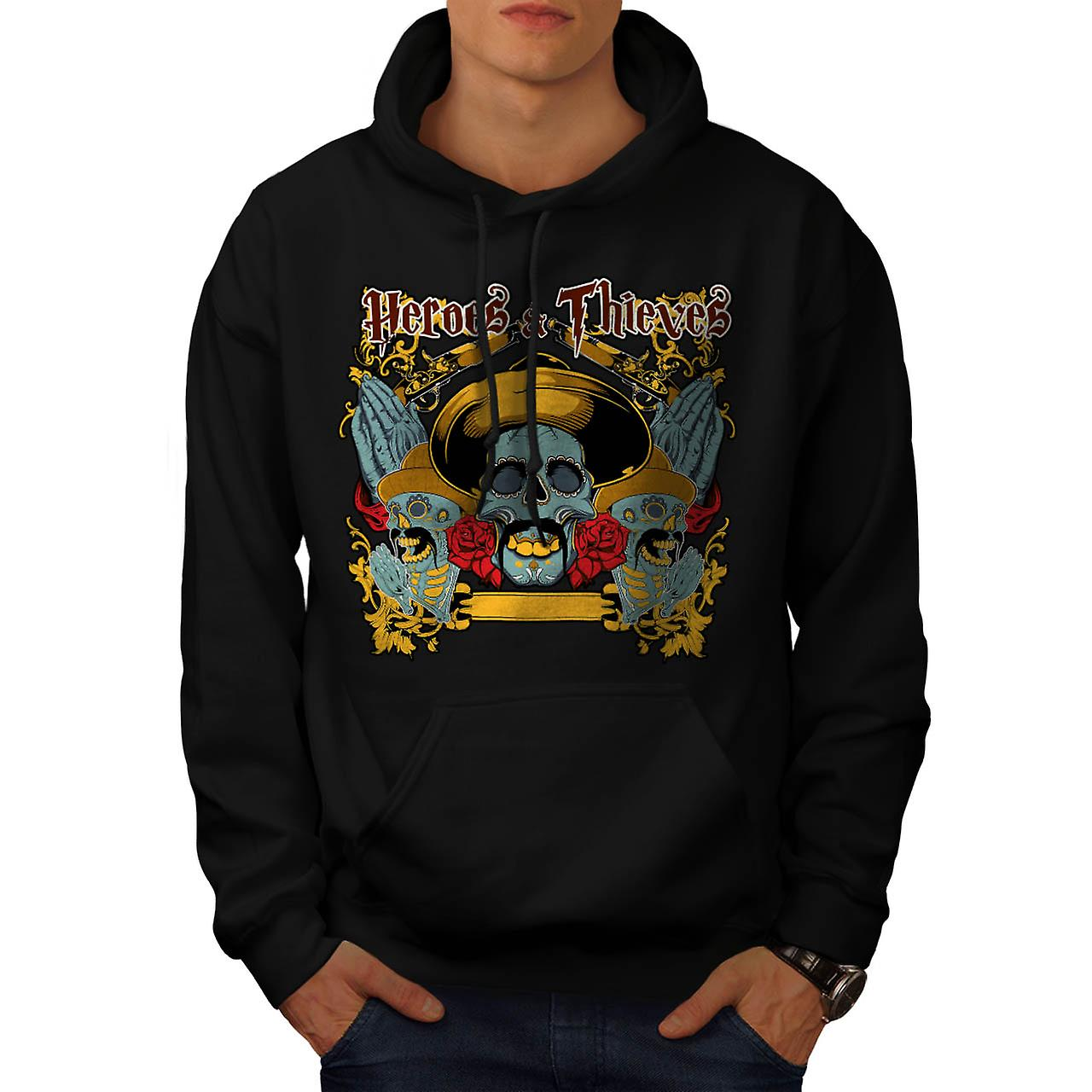 Heroes Thieves Mexico Dead Skull Men Black Hoodie | Wellcoda