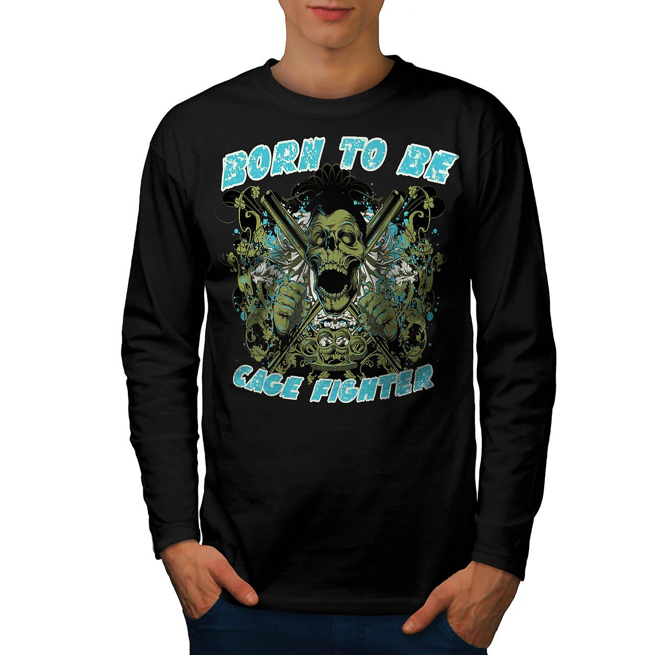 Born Cage Fighter USA Dead Skull Men Black Long Sleeve T-shirt | Wellcoda
