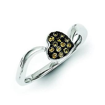 Sterling Silver Champagne Diamond Small Heart Ring - Ring Size: 6 to 8