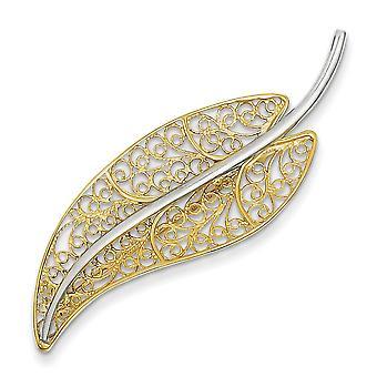 14k Two-Tone Polished Gold Filigree Leaf Pin - 3.5 Grams