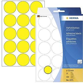 Herma 2271 Labels (hand writable) Ø 32 mm Paper Yellow 480 pc(s) Permanent Sticky dots