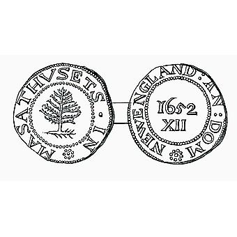 The Pine-Tree Shilling Currency In The Province Of Massachusetts Bay In 1652 From The Book Short History Of The English People By JR Green Published London 1893 PosterPrint
