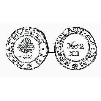 De naaldboom Shilling munt In de provincie Massachusetts Bay In 1652 uit het boek Short History Of The English People door JR Green Londen 1893 PosterPrint gepubliceerd