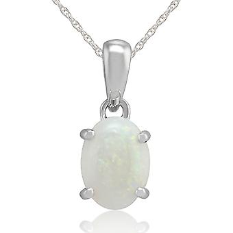 9ct White Gold 0.69ct Opal Cabochon Single Stone Pendant on 45cm Chain