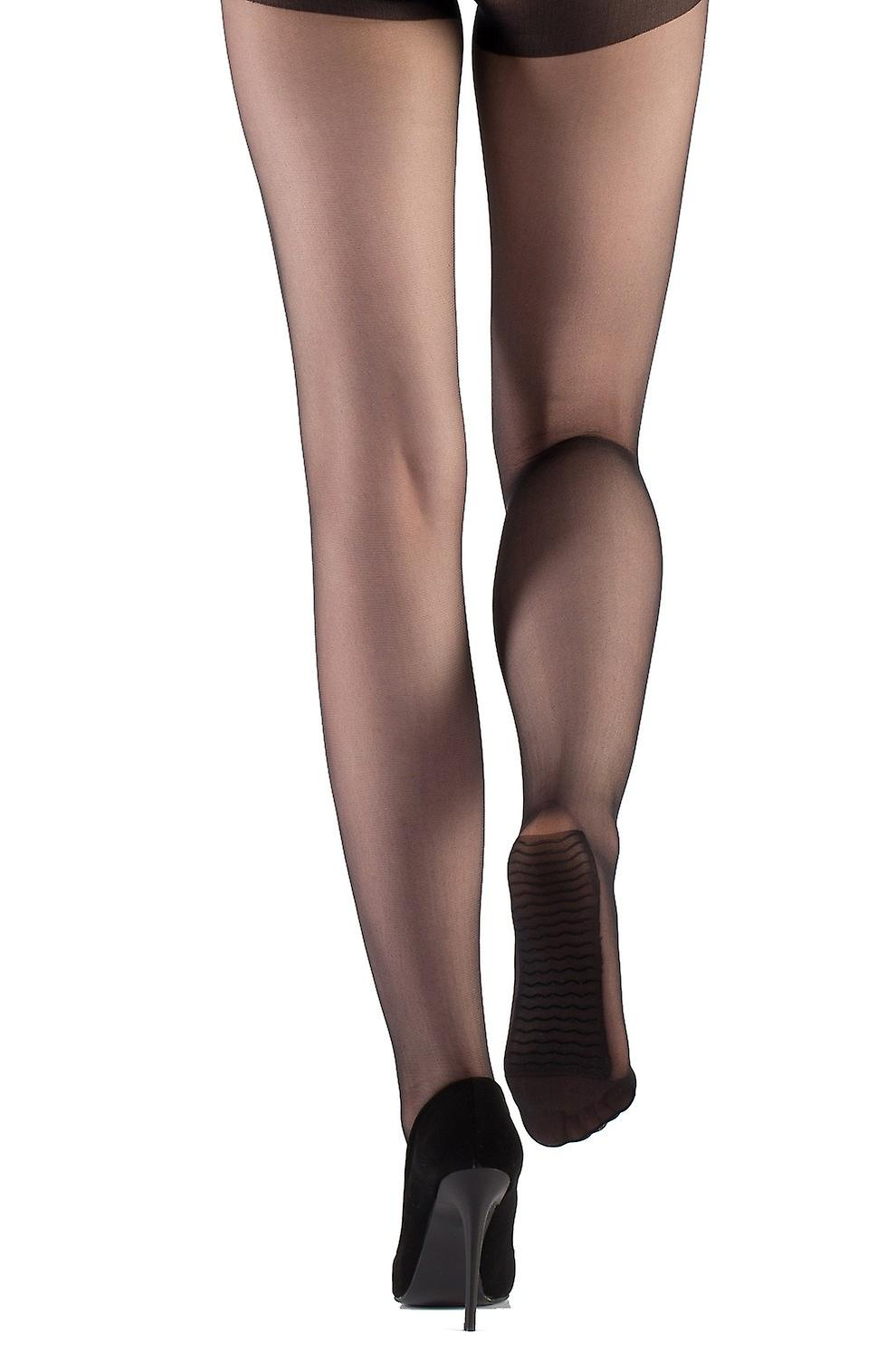 Fit satin look - pantyhose with massage sole compliant plain tights 15 DEN