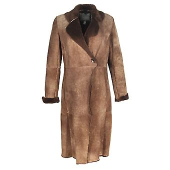 Palesha - stylish Sheepskin Coats for women Tuscany coffee fur collar Brown nubuck