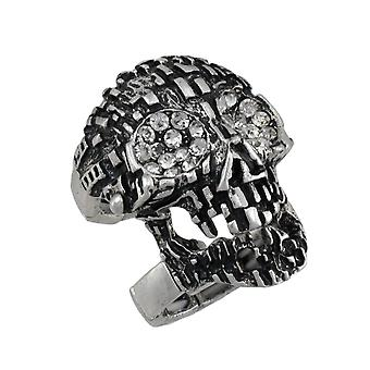 Silvertone Skull Armor Ring with Rhinestone Eyes