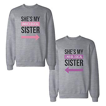Unbiological Sister BFF Sweatshirts Friendship Matching Sweat Shirts