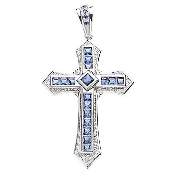 925 iced out Sterling Silver Cross - Blue VICTORY