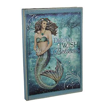 Bedazzled blå glitrende mystiske Mermaid Journal 8,25 X 6 tommers