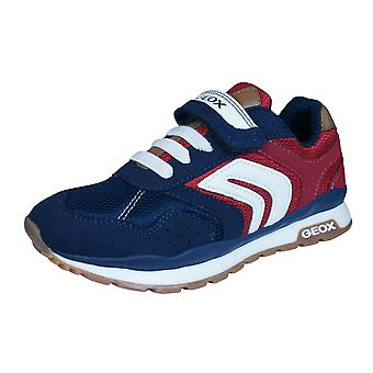 Geox J Pavel B Boys Trainers / Shoes - Navy Blue and Red
