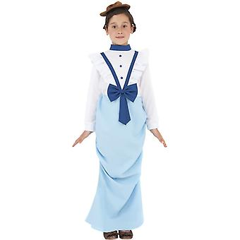 Elegant Victorian girl blue costume with dress and hat size L