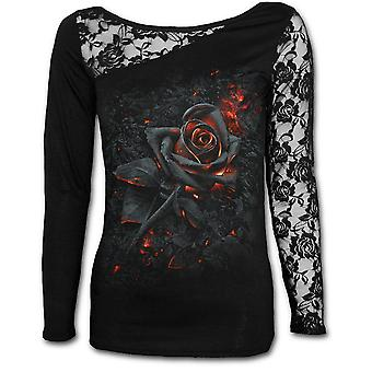 Spiral - BURNT ROSE - Women's  - Lace One Shoulder Top, Black