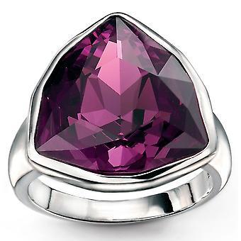 925 silver Ring Amethyst Swarovski Crystal trójkąta